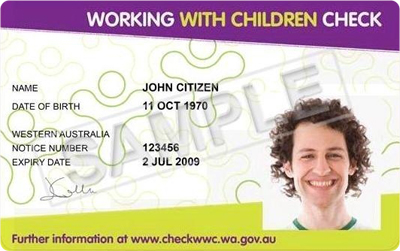Working with Children Card example