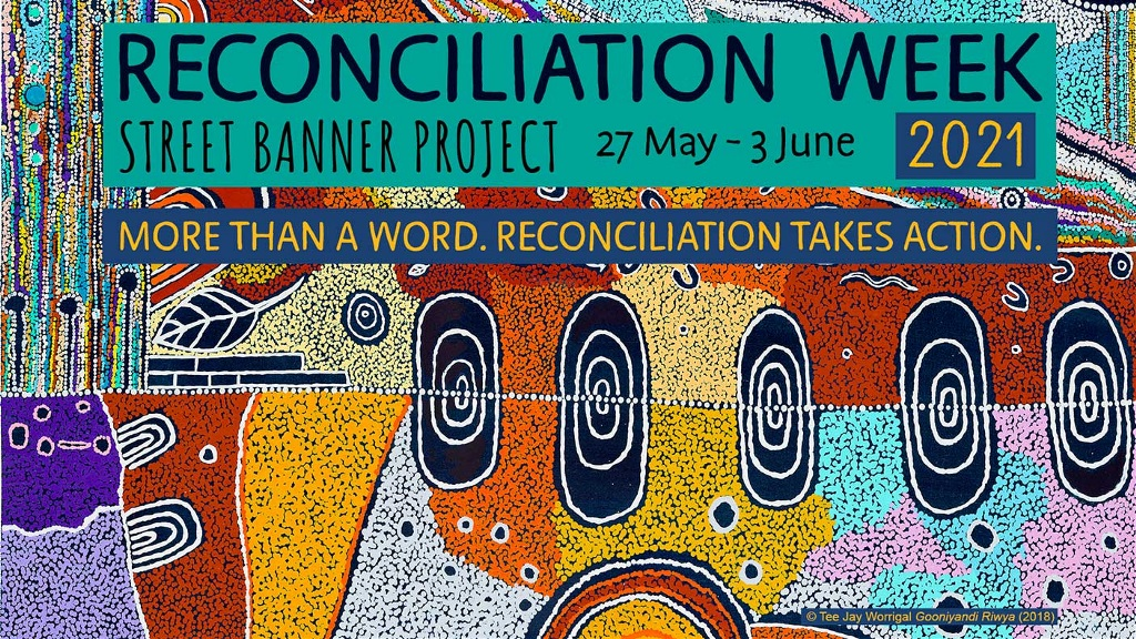Reconcilation Week banner artwork by Western Australian Aboriginal artist Tee Jay Worrigal